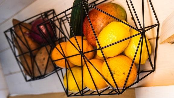 Zitronen, Orangen und eine Mango in einem Korb.