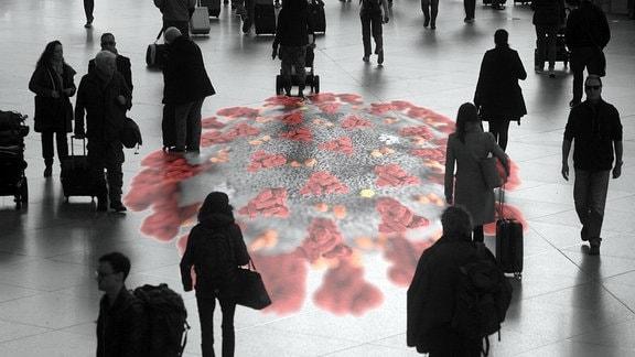 Fotomontage - Symbolbild zur Ausbreitung des Coronavirus in Deutschland - Virus mit Menschenmenge.