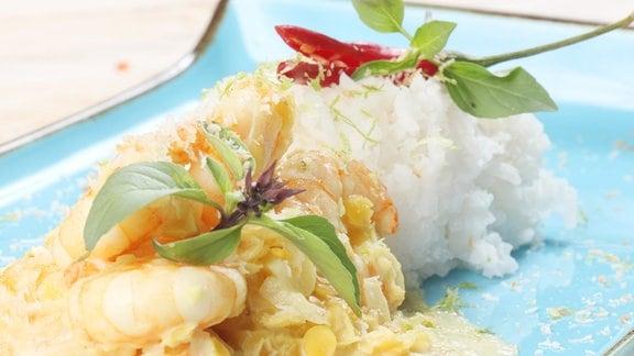 Wok-Garnelen mit Curry