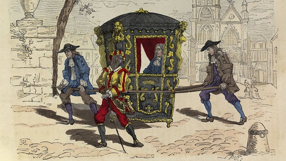 Ein farbiger Kupferstich zeigt Ludwig XIV, der in einer Sänfte getragen wird