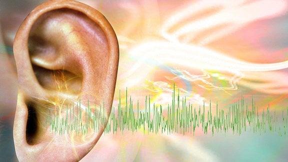 Ein Ohr, aus dem eine Tonfrequenz erscheint, ist von bunten Lichteffekten umgeben.