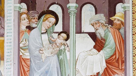 Darstellung des Herrn im Tempel, Fresko von Thomas von Villach um 1470.