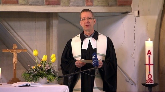 Gottesdienst am Ostermontag 2020 in der evangelisch-lutherischen Kirche im Dresdner Stadtteil Leubnitz-Neuostra