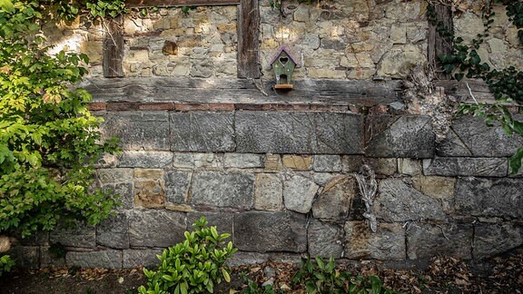 Letzter Mauerrest der Synagoge in Ballenstedt