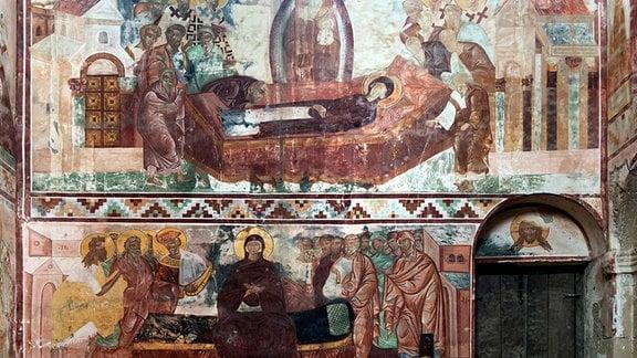 Wandmalereien in der Georgisch-Orthodoxen Gottesmutterkirche, Klosterkomplex Gelati, Darstellungen von Mariä Himmelfahrt, Kutaissi, Georgien
