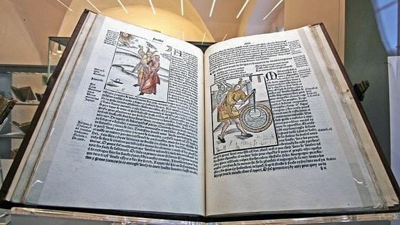Ein wertvoller Wiegendruck, «Das Narrenschiff» auf Französisch, ist am Freitag (30.11.2007) in der Herzogin Anna Amalia Bibliothek in Weimar zu sehen.