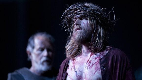 Frederik Mayet als Jesus von Nazaret bei einer Probe zu den Passionsspielen Oberammergau 2010