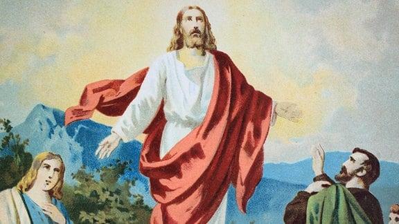 Christi Himmelfahrt, Chromolithographie aus einer Hausbibel, ca. 1870