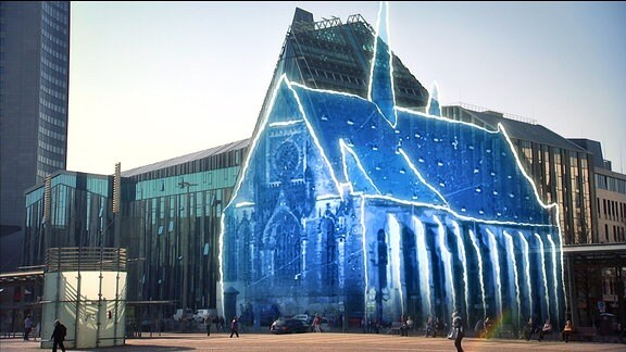 Collage aus einer illustrierten Paulinerkirche und dem Neubau (Foto)