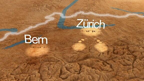 Landkarte der Schweiz mit Hervorehebung von Bern und Zürich