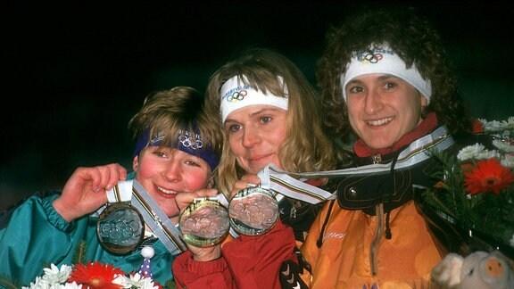 Claudia Pechstein, Gunda Niemann-Stirnemann und Heike Warnicke