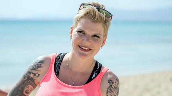 Melanie Müller an der Playa de Palma auf Mallorca.