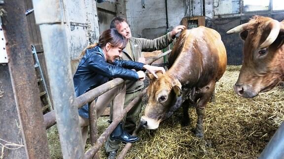 Susi Brandt steht in einem Kuhstall und streichelt mit dem Züchter Kühe.