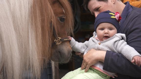Ein Baby streichelt ein Pony.
