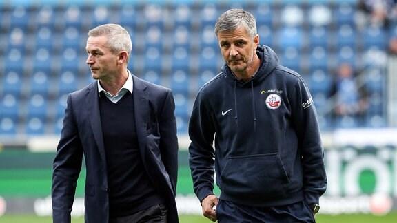 Trainer Jens Härtel FC Hansa Rostock und Geschäftsführer Mario Kallnik 1. FC Magdeburg