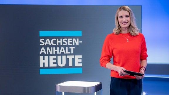 Stefanie Blochwitz im Sachsen-Anhalt-heute-Studio
