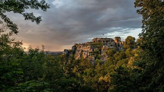 Burgruine Regenstein im Sonnenuntergang
