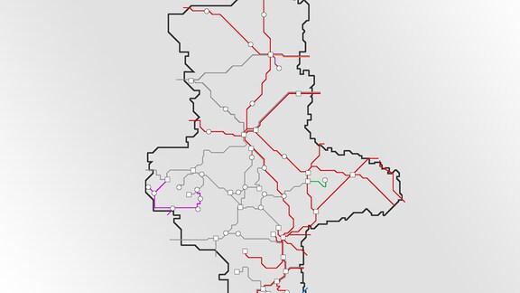 Die bahnstrecken in Sachsen-Anhalt