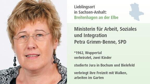 Ministerin für Arbeit  und Soziales Petra Grimm-Benne, SPD    *1962, Wuppertal verheiratet, zwei Kinder  studierte Jura in Bochum und Bielefeld  verbringt Freizeit mit Walken,  arbeiten im Garten
