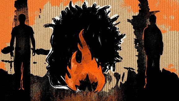 Illustration Oury Jalloh zur WDR-Fetaureserie: Oury Jalloh und die Toten des Polizeireviers Dessau
