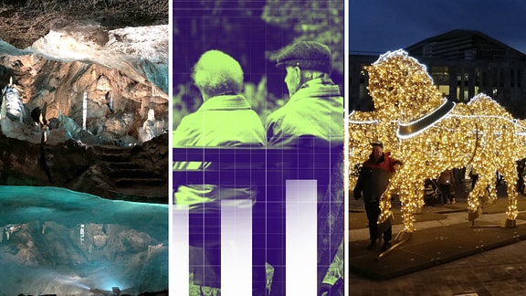 Eine Collage aus Fotos der Baumannshöhle, der Demografie-Themenwoche und der Lichterwelten in Magdeburg.
