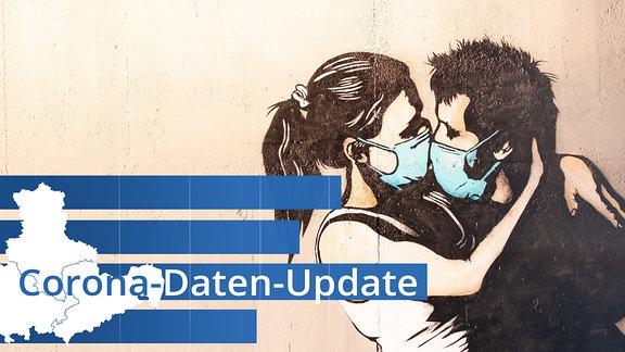 Ein Graffiti, das ein küssendes Paar mit Mundschutz zeigt.