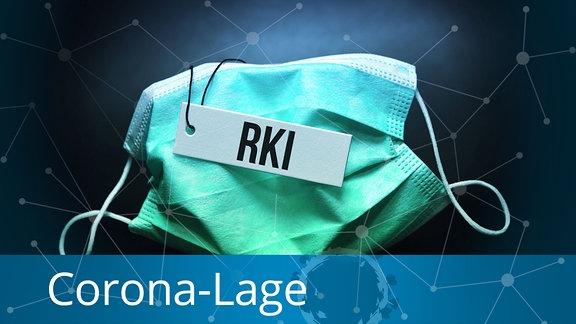 Schutzmaske mit Etikett und Aufschrift RKI