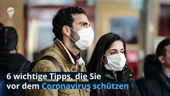 3 wichtige Tipps, die dich vor dem Coronavirus zu schützen  Menschen mit Mundschutz in Mailand
