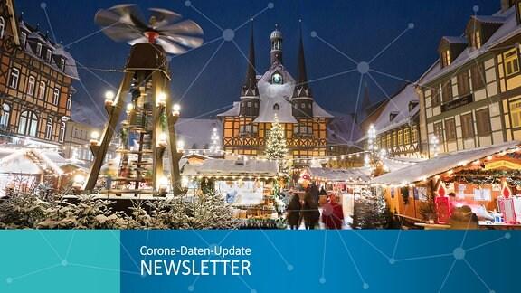 Collage für den Corona-Newsletter: Der Weihnachtsmarkt auf dem Marktplatz Wernigerode
