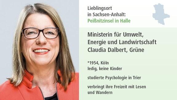 Ministerin für Umwelt, Energie und Landwirtschaft Claudia Dalbert, Grüne *1954, Köln ledig, keine Kinder studierte Psychologie in Trier verbringt Freizeit mit Lesen und Wandern