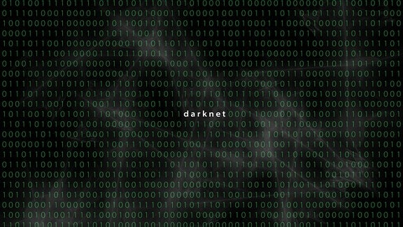 Computermatrix mit Wort Darknet