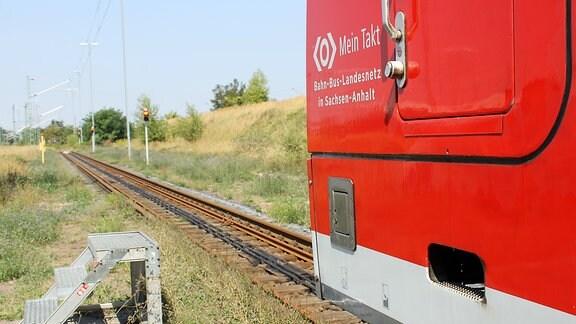 ein nasser Zug fährt auf rote Ampeln zu