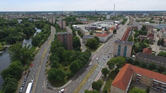 Dessau-Roßlau, Stadtansicht mit Mulde