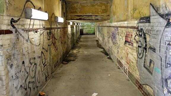 Blick in einen maroden Personentunnel, an den Wänden Graffitis, auf dem Boden Dreck und Wasserflecken.