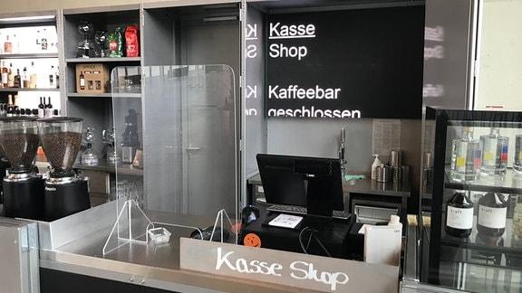 Geschlossene Kaffeebar in Bauhaus-Museum