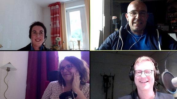 Sybille Heinemann, Stephan Schulz, Claudia Rondio und Marcel Roth (v.l. oben) in einer Videokonferenz.