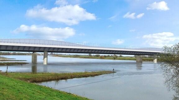 Eine Computervisualisierung zeigt eine Brücke über die Elbe