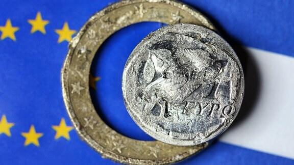 Zerstörter griechischer Euro,