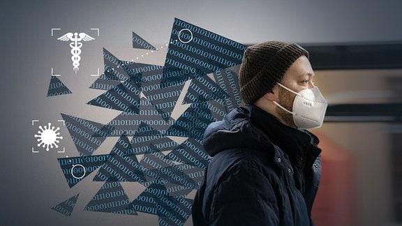 Ein Mann mit FFP2-Maske im öffentlichen Nahverkehr