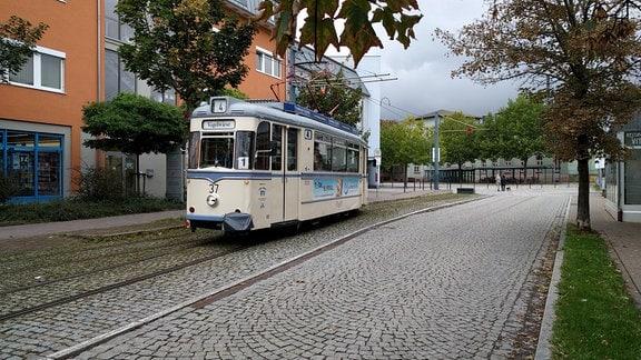 """Eine Straßenbahn der Linie 4, die """"Wilde Zicke"""", fährt in Naumburg"""