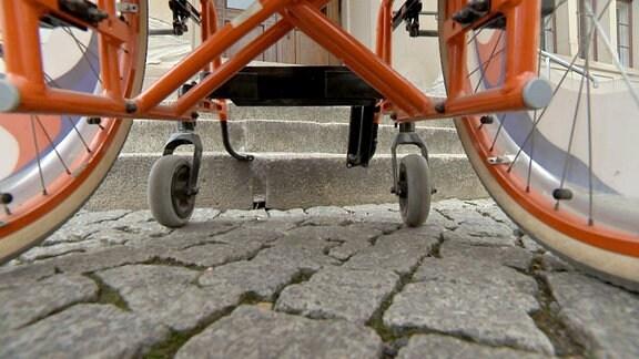Detailaufnahme eines Rollstuhls