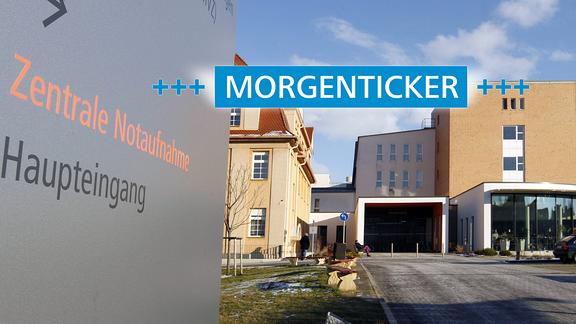 Eingang des Klinikums Burgenlandkreis mit Morgenticker-Schriftzug