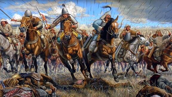 Ein Gemälde, das germanische Krieger zeigt