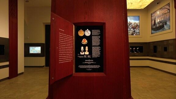 Ein Raum zur neuen Ausstellung Barbarenmacht im Landesmuseum für Vorgeschichte in Halle
