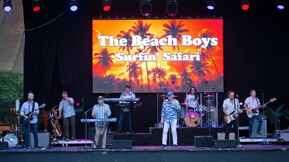 Die Band Beach Boys und weitere Musiker spielen auf einer Bühne
