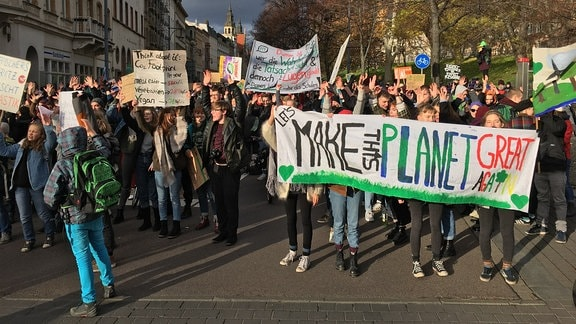 """Let's make this planet great again"": Fridays for Future in Halle: In Halle haben am 29. November viele Menschen gegen die aktuelle Klimapolitik demonstriert."
