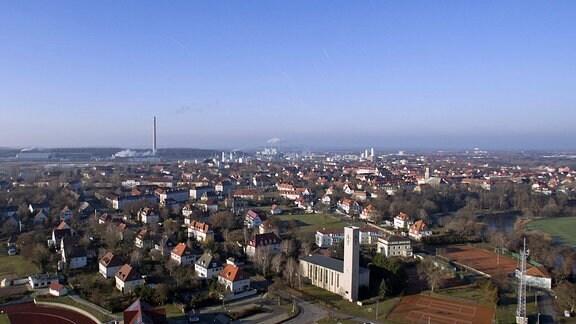 Luftbild der Stadt Leuna