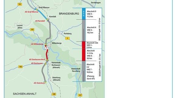 Karte Nordverlängerung A14