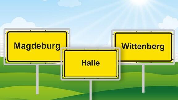 Die drei Ortsschilder von Magdeburg, Halle und Wittenberg.