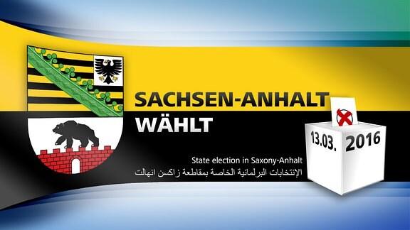 MDR-Logo für die Themenwoche zur Landtagswahl 2016: Sachsen-Anhalt wählt - Informationen auf englisch und arabisch